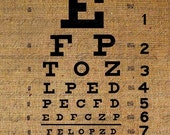Eye Vision Chart Letters Type Digital Image Download Transfer To Pillows Tote Bags Tea Towels Burlap No. 1086