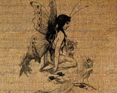 Beautiful Fairy Fairies Wings Digital Image Download Sheet Transfer To Pillows Totes Tea Towels Burlap No. 1370