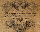 French Calligraphy Script Ornate Frame Digital Image Download Sheet Transfer To Pillows Totes Tea Towels Burlap No. 1544