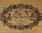 Paris French Perfume Bottles Words Digital Image Download Sheet Transfer To Pillows Totes Tea Towels Burlap No. 1549