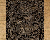 Moroccan Style Paisley Design Digital Image Download Transfer To Pillows Tote Tea Towels Burlap No. 1692