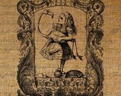 Alice in Wonderland Alice Holds Flamingo Bird Ornate Frame Digital Image Download Sheet Transfer To Pillows Totes Tea Towels Burlap No. 1701