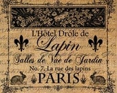 Digital Collage Sheet PARIS French Hotel Drole de Lapin Rabbit Hotel Image Download Transfer For Pillows Totes Tea Towels Burlap No. 2008