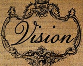 Vision Word Text Typography Crown Frame Digital Image Download Transfer To Pillows Totes Tea Towels Burlap No. 1937