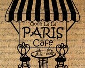 Ooooh La La PARIS Outdoor Cafe Text Bistro Table Word Digital Image Download Transfer To Pillows Tote Tea Towels Burlap No. 2064