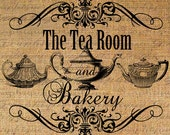 The Tea Room and Bakery Text Teapot Tea Teapots Digital Image Download Transfer To Pillows Tote Tea Towels Burlap No. 2264