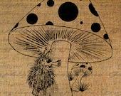 Mushroom Cartoon Character Fuzzy Creature Kids Fun Digital Image Download Sheet Transfer To Pillows Totes Tea Towels Burlap No. 2340