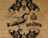 French Paris Bird Birds Writing Script Ornate Frame Crown Digital Image Download Sheet Transfer To Pillows Totes Tea Towels Burlap No. 2581