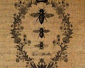 Bees French Digital Collage Sheet Word Writing Queen Bee Crown Frame Burlap Digital Download Fabric Transfer Pillows Tote Tea Towels 2588