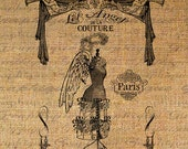 Angels of Couture French Text Angel Dress Form Digital Image Download Sheet Transfer To Pillows 7otes Tea Towels No. 2490