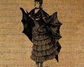 Bat Woman Lady Wings Gothic Halloween Steampunk Digital Image Download Sheet Transfer To Pillows Tote Bags Tea Towels Burlap No. 2734