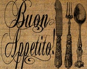 Buon Appetito Italian Quote Bon Appetite Fork Knife Spoon Silverware Digital Image Download Transfer 2 Pillows Tote Tea Towels Burlap  2759