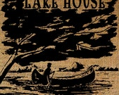 Lake House Boat Water Outdoors Nature Camp Camping Canoe Tree Download Transfer To Pillows Totes Tea Towels Burlap No. 2784