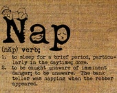 Dictionary Definition Word NAP Diaper Baby Sleeps Sleeping Typography Digital Image Download Transfer Pillows Totes Tea Towels Burlap 3442