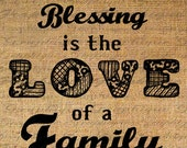 Greatest Blessing LOVE of FAMILY Word Quote Digital Collage Sheet Download Burlap Fabric Transfer Iron On Pillows Totes Tea Towels No. 3627