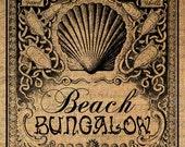BEACH BUNGALOW Shells Ocean Seashore Digital Image Download Transfer To Pillows Tote Tea Towels Burlap No. 4080