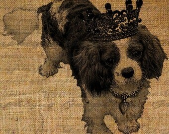 Cavalier King Charles Spaniel Heart Crown Dog Royal Digital Image Download Sheet Transfer To Pillows Tote Bags Tea Towels  Burlap No. 1471