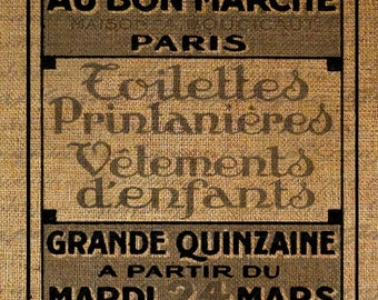 French Store Poster Paris Text Typography Digital Image Download Transfer To Pillows Tote Tea Towels Burlap No. 1393