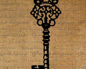 Ornate Key  Digital Image Download Transfer To Pillows Tote Tea Towels Burlap No. 1605