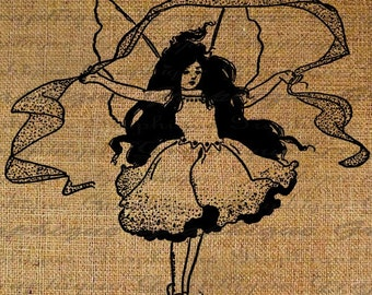 Beautiful Fairy Child Fairies Wings Digital Image Download Sheet Transfer To Pillows Totes Tea Towels Burlap No. 1377