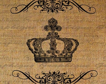 Burlap Digital Download Crown Royal Fleur De Lis Digital Collage Sheet Iron On Fabric Transfer To Pillows Tote Tea Towels 1521