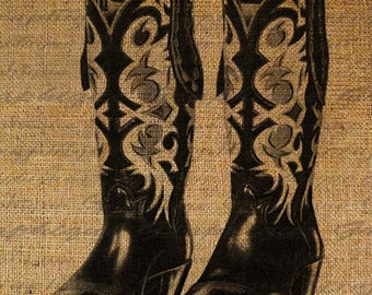 Vintage Western Cowboy Boots Digital Image Download Transfer To Pillows Tote Tea Towels Burlap No. 1764