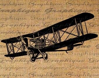 Digital Collage Sheet Burlap Download Transfer Vintage Biplane Airplane Iron on Fabric Pillows Tote Bags Tea Towels Burlap No. 2033