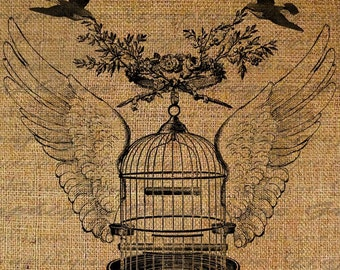 Birds With Flying Bird Cage With Wings Flowers Digital Image Download Transfers To Pillows Totes Tea Towels Burlap No. 1925