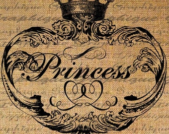 PRINCESS Crown Frame Typography Word Digital Image Download Sheet Transfer To Pillows Totes Tea Towels Burlap No. 2044