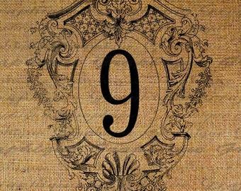 Number Nine 9 Ornate Frame Digital Image Download Sheet Transfer To Pillows Totes Tea Towels Burlap No. 1949