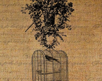 Hanging Bird Cage Birds Ornate Flowers Digital Image Download Transfers To Pillows Totes Tea Towels Burlap No. 1931