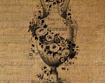 Poetry Of Flowers Vase Old World Script Digital Image Download Sheet Transfer To Pillows Totes Tea Towels Burlap No. 2104