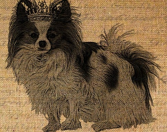 Adorable Papillon with Crown Dog Puppy Digital Image Download Sheet Transfer To Pillows Totes Tea Towels Burlap No. 2209
