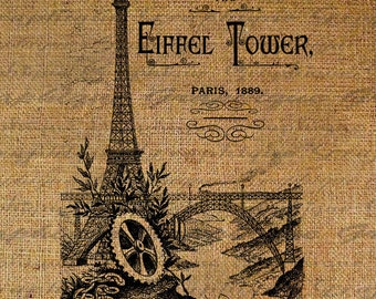 French Paris The Eiffel Tower Text Typography Words Digital Image Download Transfer For Pillows Totes Tea Towels Burlap No. 2172
