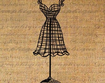 Prissy Wire Dress Form Fashion Digital Image Download Transfer To Pillows Tote Tea Towels Burlap No. 2062