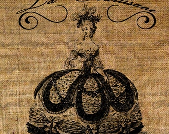 French Text Words Marie Antoinette Dress Gown Courtesan Attends Queen Digital Download Transfers To Pillows Totes Tea Towels Burlap No.2302