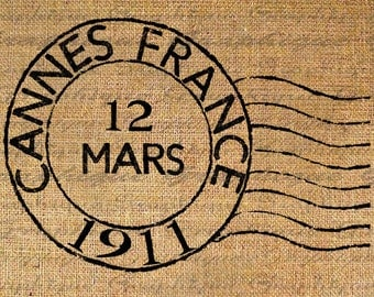 Cannes Postmark Post Mark France French Digital Image Download Sheet Transfer To Pillows Totes Tea Towels Burlap No. 2268