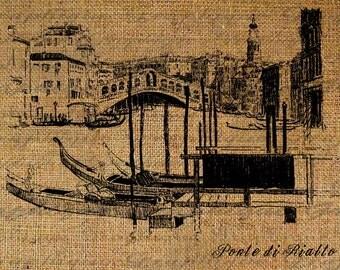 Digital Collage Sheet  Italy Italian Venice Bridge Boat Handwriting Burlap Download Transfer Pillows Totes Tea Towels 2976