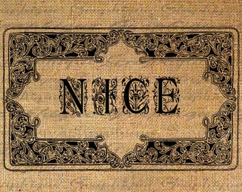 CHRISTMAS Digital Collage Sheet Download Burlap Fabric Transfer Word NICE Text Ornate Frame Iron On Pillows Totes Tea Towels No. 3130