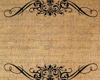 Ornate FRAME Digital Collage Sheet Download Burlap Fabric Transfer Blank Inside to Iron On Pillows Totes Tea Towels No. 3415