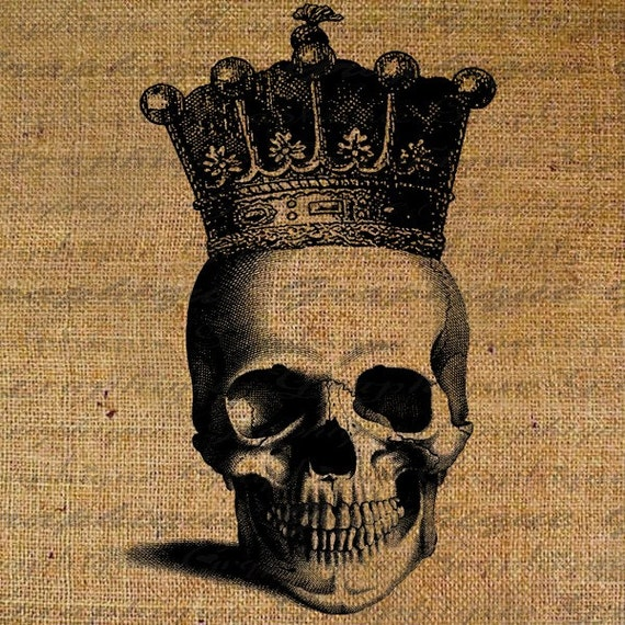 Digital Collage Sheet Halloween Digital Download Burlap Skull Crown Royal Transfer To Pillows Tote Bags Tea Towels No. 1138