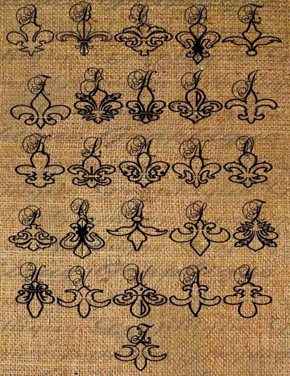 Items similar to fleur de lis alphabet calligraphy digital