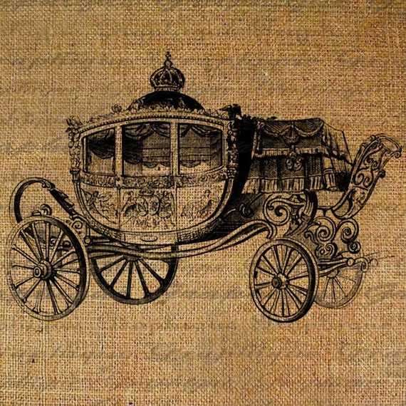 Cinderella Carriage Crown French Digital Image Download Transfer To Pillows Tote Tea Towels Burlap No. 1380