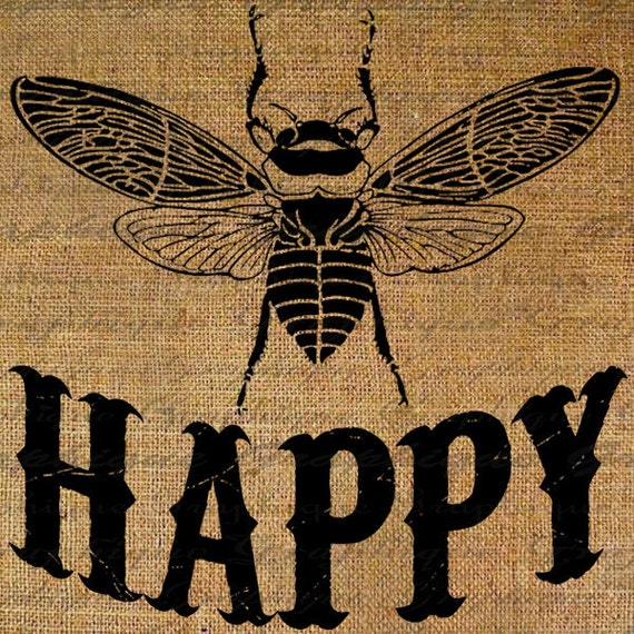 Be Happy Bee Happy Large Bumble Bees Insect Digital Image Download Sheet Transfer To Pillows Totes Tea Towels Burlap No. 2506