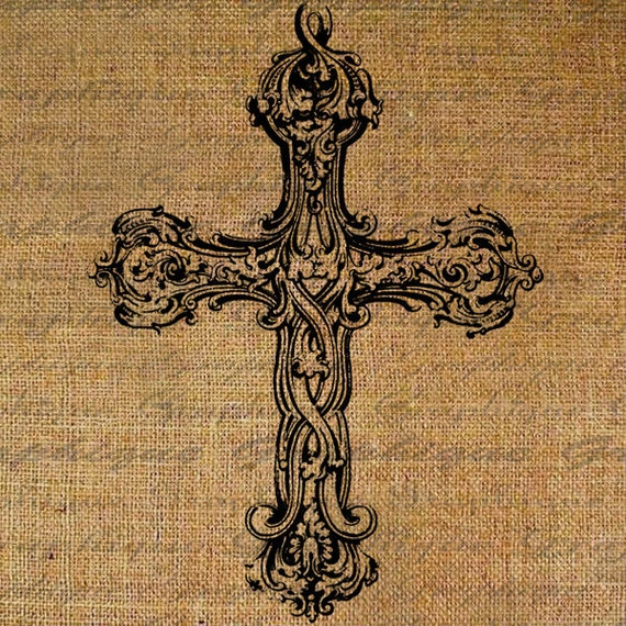 Antique Scroll Patterns: Digital Collage Sheet Antique Cross With Scroll Work Patterns