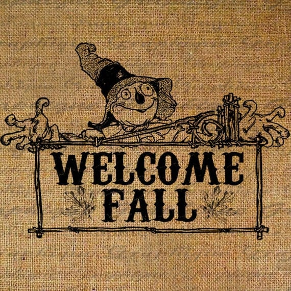 Items similar to Scarecrow Welcome Fall Sign Harvest Thanksgiving ...