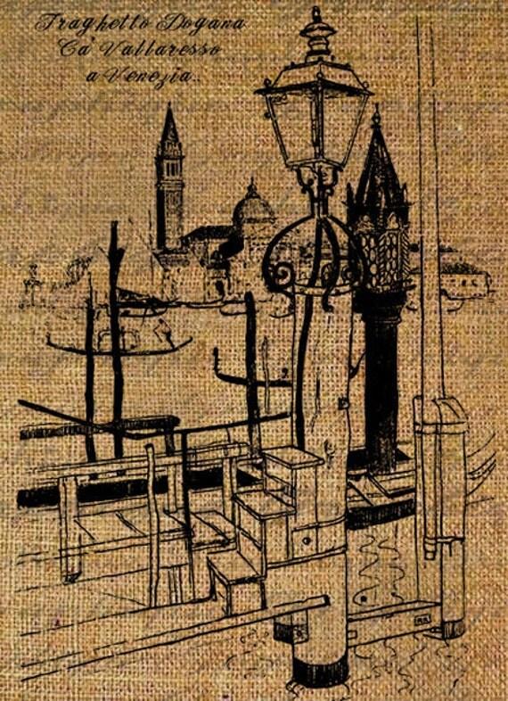 Digital Collage Sheet  Italy Italian Venice Gondola Lamp Boats Handwriting Burlap Download Transfer Pillows Totes Tea Towels 2977