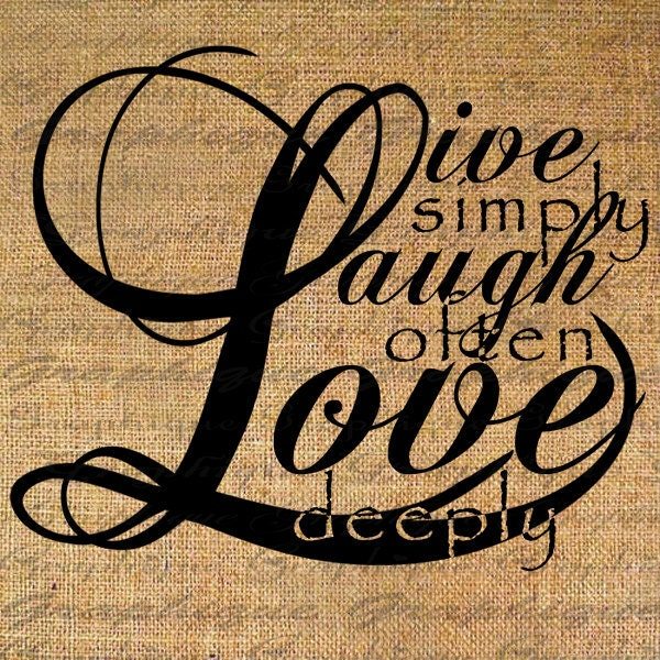 LIVE Laugh LOVE Quote Text Digital Collage Sheet By Graphique