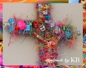 Mixed Media Crucifix Jesus Christ Day of the Dead - Spiritual Artwork