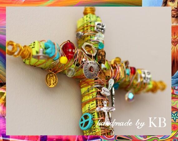 Crucifix - Mixed Media Jesus Christ Day of the Dead - Spiritual Artwork